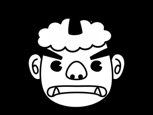 節分・鬼の顔の白黒イラスト02