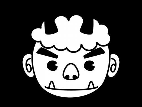 節分・鬼の顔の白黒イラスト03