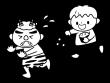 節分・鬼に豆をまく子供の白黒イラスト