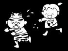 節分・鬼に豆をまく子供の白黒イラスト02