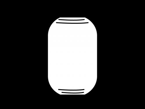 縦長の提灯の白黒イラスト