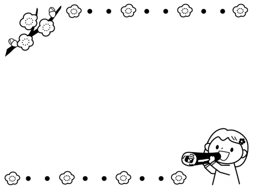 恵方巻を食べる子供のフレーム・枠の白黒イラスト02