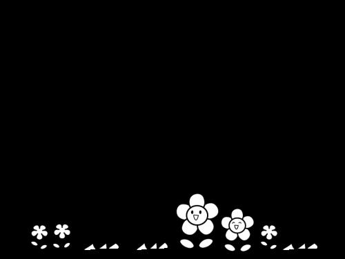 お花と蝶々のフレーム・枠の白黒イラスト