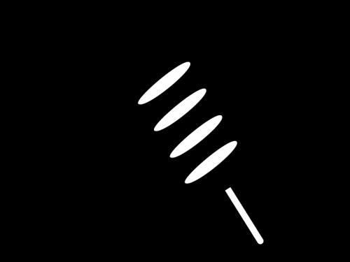 イカ焼きの白黒イラスト