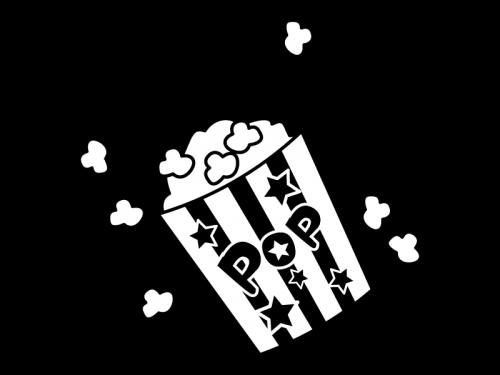ポップコーンの白黒イラスト03