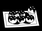 たこ焼きの白黒イラスト