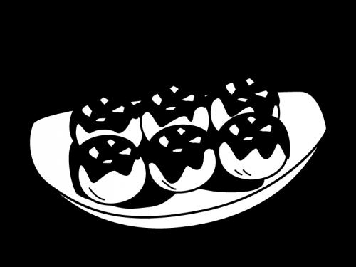 たこ焼きの白黒イラスト02