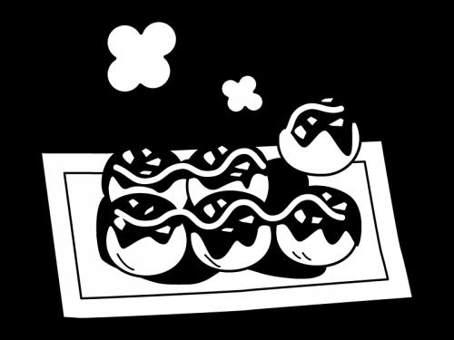 ホクホクのたこ焼きの白黒イラスト