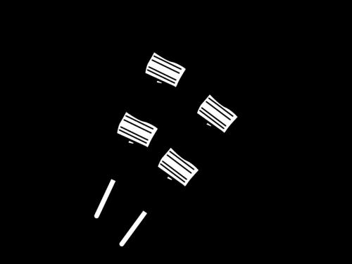 ねぎまの焼き鳥の白黒イラスト