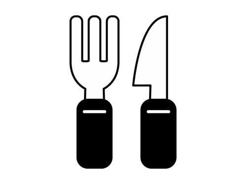 フォークとナイフの白黒イラスト02