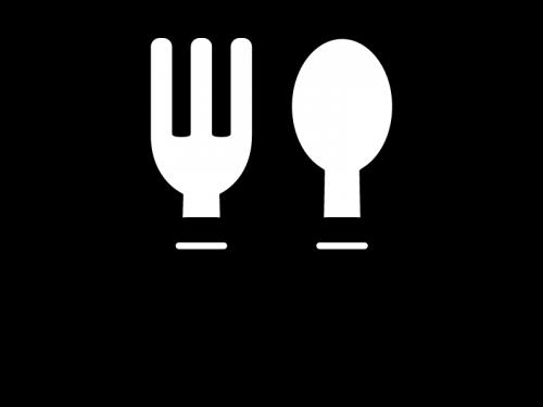 フォークとスプーンの白黒イラスト02