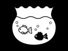 金魚鉢で泳ぐ金魚の白黒イラスト