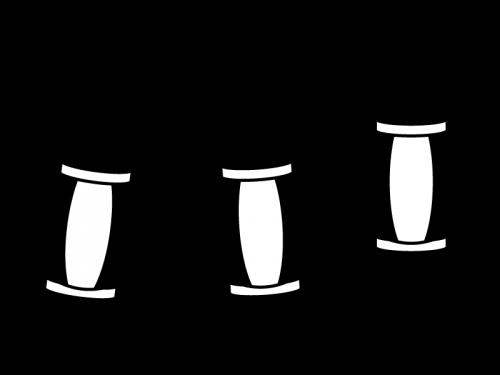 お祭り・連なった提灯の白黒イラスト