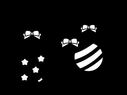 パーティー飾りの白黒イラスト