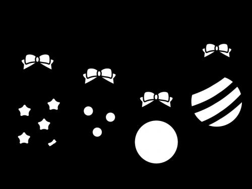 パーティー飾りの白黒イラスト02