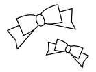 リボンの白黒イラスト