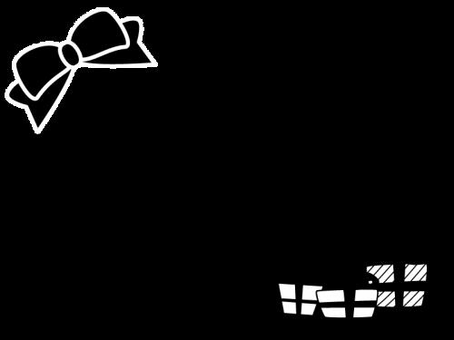 リボンとプレゼントのフレーム・枠の白黒イラスト