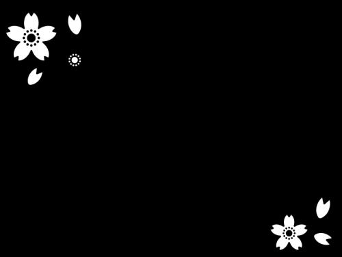 桜のフレーム・枠の白黒イラスト