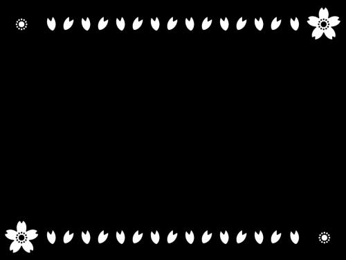 桜のフレーム・枠の白黒イラスト02