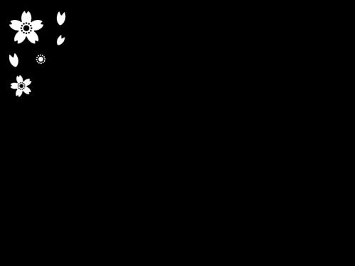 桜のフレーム・枠の白黒イラスト03