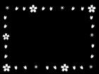 桜のフレーム・枠の白黒イラスト04