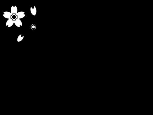 桜のフレーム・枠の白黒イラスト05