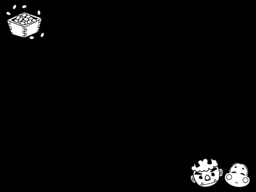 鬼とお多福の節分フレーム・枠の白黒イラスト