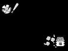 鬼と梅の節分フレーム・枠の白黒イラスト