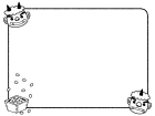 鬼と豆の節分フレーム・枠の白黒イラスト03