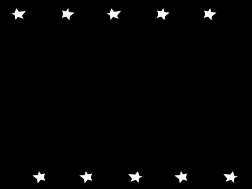 星のフレーム・枠の白黒イラスト