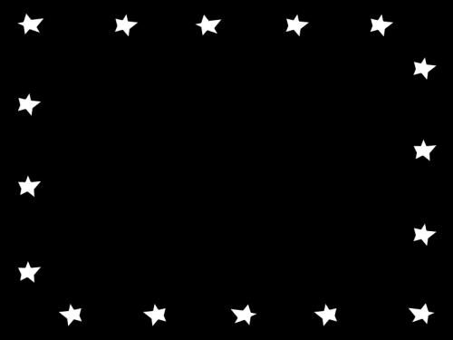星のフレーム・枠の白黒イラスト02