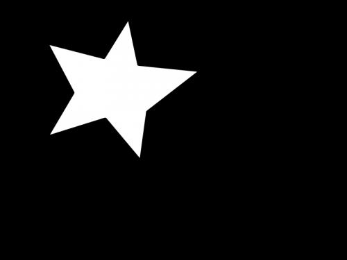 手書き風の星の白黒イラスト