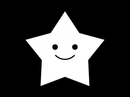 かわいい星の白黒イラスト