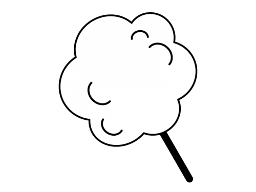 わたあめ・綿菓子の白黒イラスト