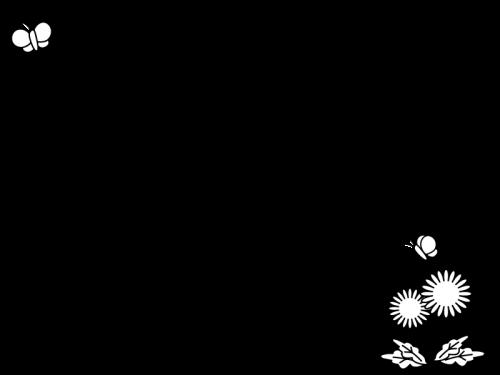 たんぽぽと蝶々のフレーム・枠の白黒イラスト