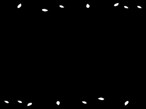蔦と葉っぱのフレーム・枠の白黒イラスト