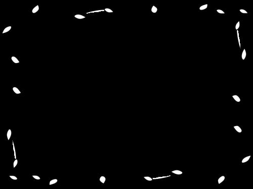 蔦と葉っぱのフレーム枠の白黒イラスト03 かわいい無料の白黒