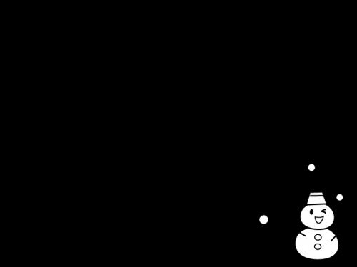 冬雪だるまの上下フレーム枠の白黒イラスト かわいい無料の白黒