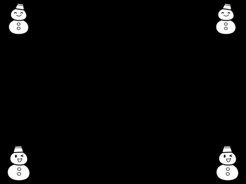 冬・雪だるまの上下フレーム・枠の白黒イラスト02
