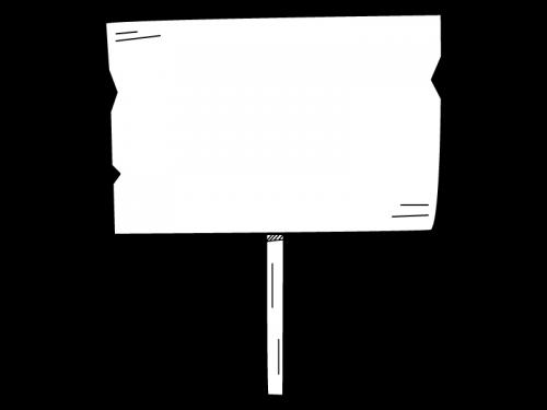 木の看板風の白黒イラスト