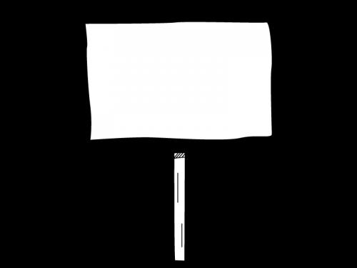 木の看板風の白黒イラスト02