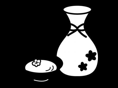 甘酒の白黒イラスト