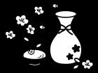 桃の花と甘酒の白黒イラスト