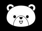 かわいいクマの白黒イラスト