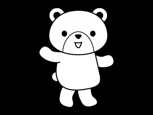 かわいいクマ(全身)の白黒イラスト