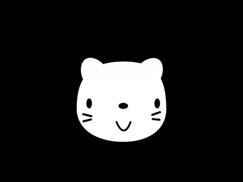 かわいいライオンの白黒イラスト