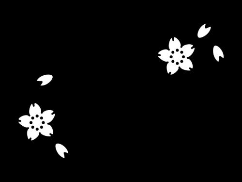 4月タイトル・桜の白黒イラスト
