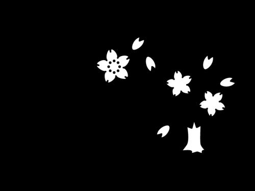 4月タイトル・桜の白黒イラスト02