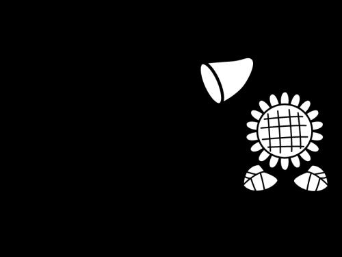 8月タイトル・ひまわりと虫取り網の白黒イラスト