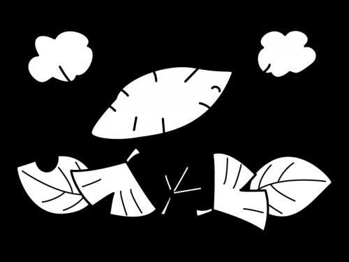 紅葉と焼きいもの白黒イラスト